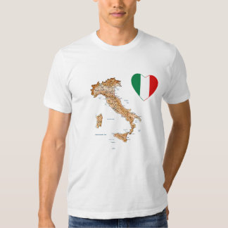Italy Flag Heart and Map T-Shirt