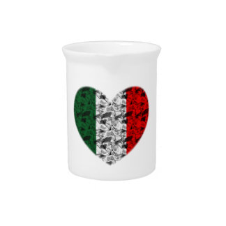 Italy Flag Heart Beverage Pitcher