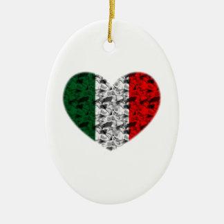 Italy Flag Heart Ceramic Ornament