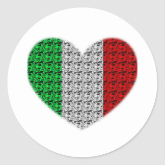 Italy Flag Heart Classic Round Sticker