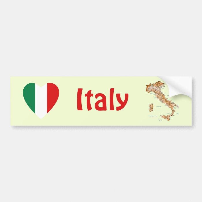Italy Flag Heart + Map Bumper Sticker
