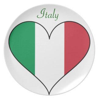 Italy Flag Heart Melamine Plate