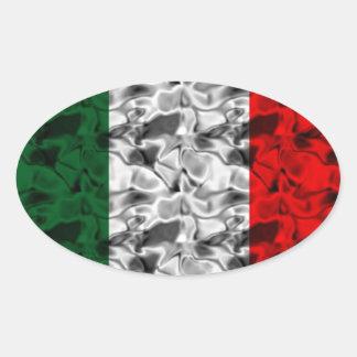 Italy Flag Heart Oval Sticker