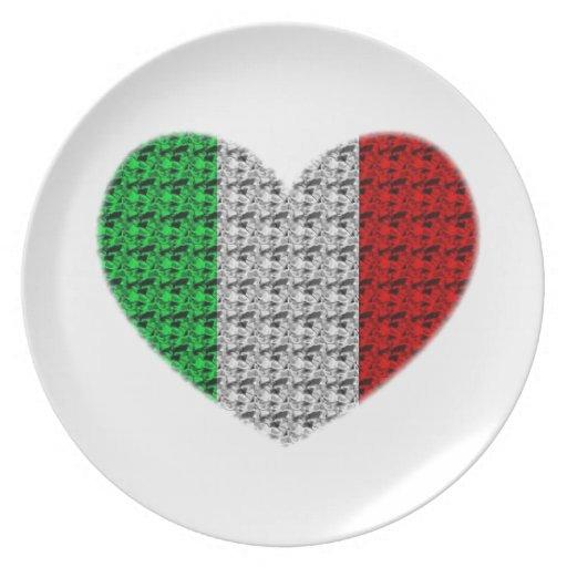 Italy Flag Heart Party Plates