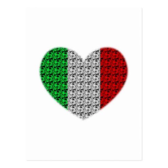 Italy Flag Heart Postcard