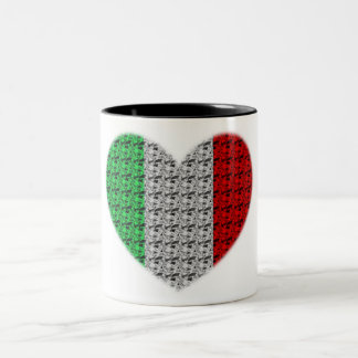 Italy Flag Heart Two-Tone Coffee Mug