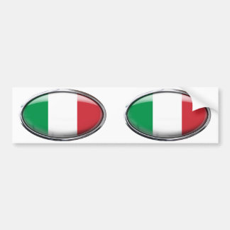 Italy Flag in Glass Oval Bumper Sticker