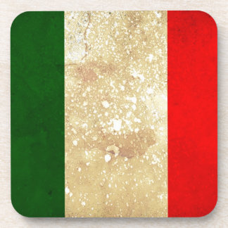 Italy Flag in Grunge Drink Coaster