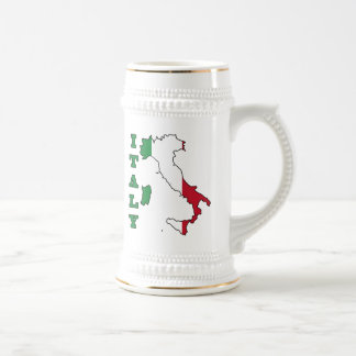 Italy Flag in Map 18 Oz Beer Stein