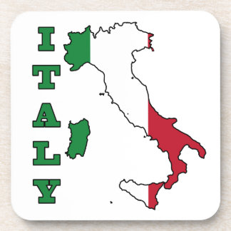 Italy Flag in Map Beverage Coaster
