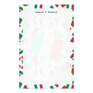Italy Flag in Multiple Colorful Layers Askew Stationery