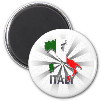 Italy Flag Map 2.0 2 Inch Round Magnet