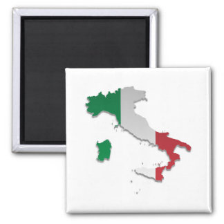 Italy Flag Map_2 2 Inch Square Magnet
