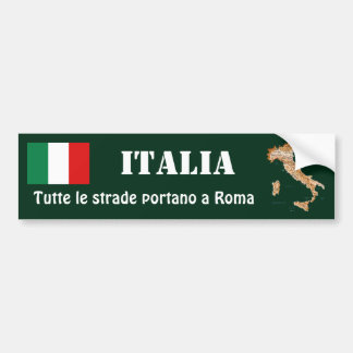 Italy Flag + Map Bumper Sticker Car Bumper Sticker