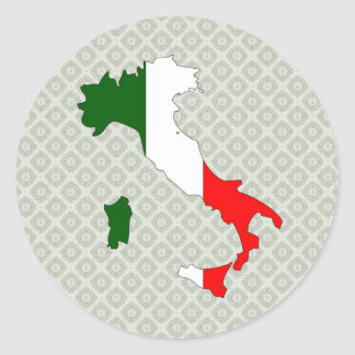 Italy Flag Map full size Classic Round Sticker