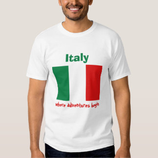 Italy Flag + Map + Text T-Shirt