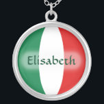 """Italy Flag   Name Necklace<br><div class=""""desc"""">The design for this attractive pendant features a name overlying the Italian flag,  which has been neatly morphed to fit the round shape. The featured name can be changed to any name or text of your choice,  creating a personalized gift for someone who loves Italy. &#169; 2011 FlagAndMap</div>"""