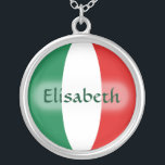 """Italy Flag   Name Necklace<br><div class=""""desc"""">The design for this attractive pendant features a name overlying the Italian flag,  which has been neatly morphed to fit the round shape. The featured name can be changed to any name or text of your choice,  creating a personalized gift for someone who loves Italy. © 2011 FlagAndMap</div>"""