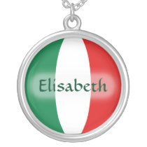 Italy Flag   Name Necklace