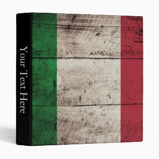 Italy Flag on Old Wood Grain Binder