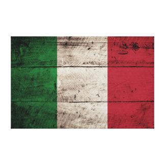 Italy Flag on Old Wood Grain Canvas Print