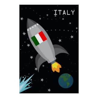 Italy Flag Rocket Ship Poster