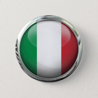 Italy Flag Round Glass Ball Pinback Button