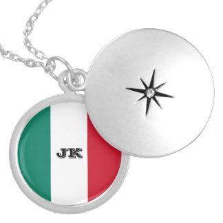 Italy flag round locket necklace