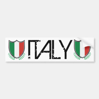 Italy Flag Shield with Laurels Bumper Stickers