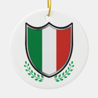 Italy Flag Shield with Laurels Ceramic Ornament