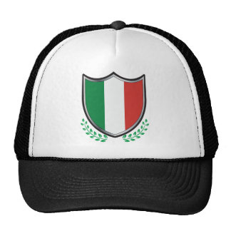 Italy Flag Shield with Laurels Trucker Hat