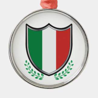 Italy Flag Shield with Laurels Metal Ornament
