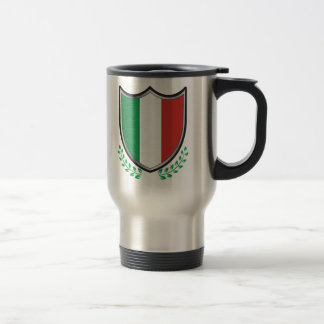 Italy Flag Shield with Laurels 15 Oz Stainless Steel Travel Mug