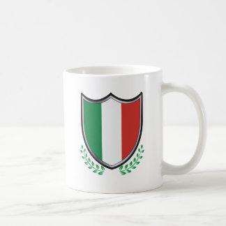 Italy Flag Shield with Laurels Classic White Coffee Mug
