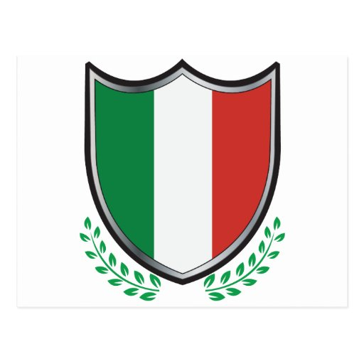 Italy Flag Shield with Laurels Postcard