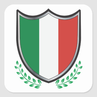 Italy Flag Shield with Laurels Square Sticker