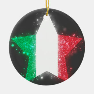 Italy Flag Shining Double-Sided Ceramic Round Christmas Ornament