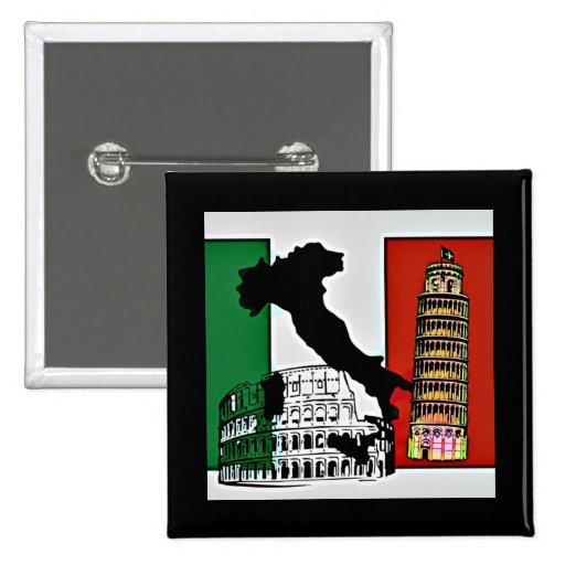 Italy - Flag, Silhouette, Tower, and Colosseum Button