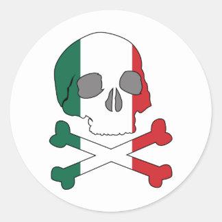 Italy Flag Skull Classic Round Sticker