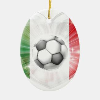 Italy flag soccer heart flag ceramic ornament