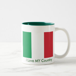 Italy Flag The MUSEUM Zazzle I Love MY Country Two-Tone Coffee Mug