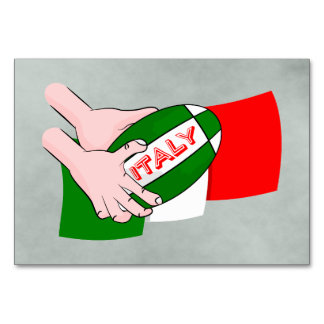 Italy Flag With Cartoon Rugby Ball Card