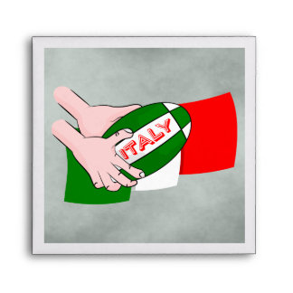 Italy Flag With Cartoon Rugby Ball Envelope