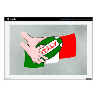 Italy Flag With Cartoon Rugby Ball Laptop Skin