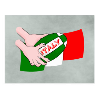 Italy Flag With Cartoon Rugby Ball Postcard