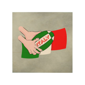 Italy Flag With Cartoon Rugby Ball Wood Print