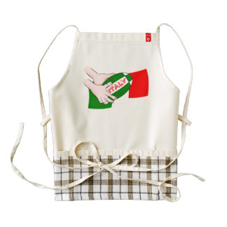 Italy Flag With Cartoon Rugby Ball Zazzle HEART Apron
