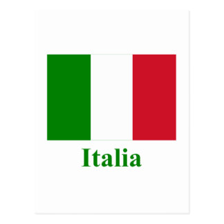 Italy Flag with Name in Italian Postcard