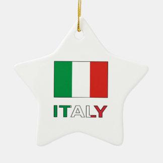 Italy Flag & Word Ceramic Ornament