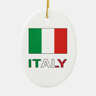 Italy Flag & Word Christmas Tree Ornaments